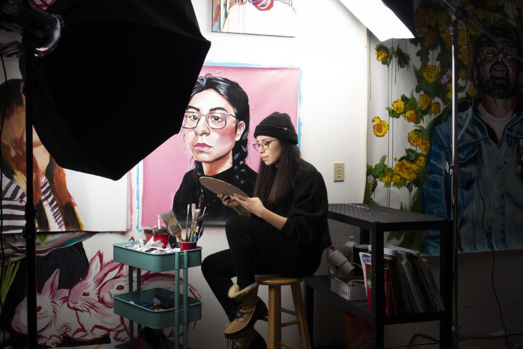 Lauren Crazybull in the McLuhan house Studio