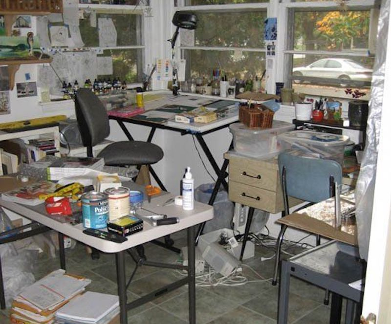 cluttered studio space