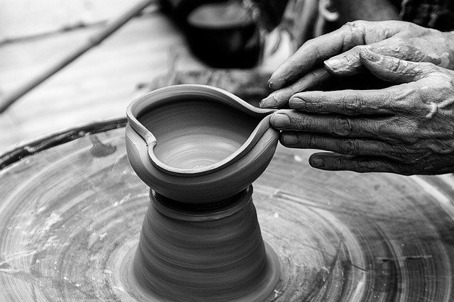 potter producing a bowl